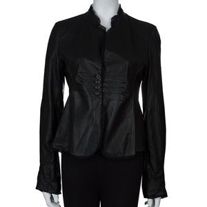 Emporio Armani leather chiffon trimmed jacket